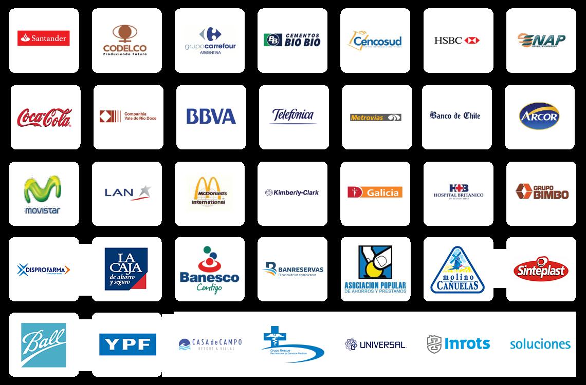 Grilla con 35 logotipos color de clientes